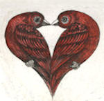 Pair of birds forming a heart