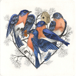 etching of bluebirds forming a heart