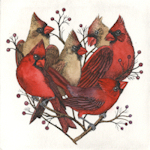 original etchings of cardinals gathered in the shape of a heart