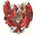 Heart shaped collection of cardinals.