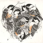 Heart shaped collection of Chickadees