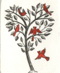 miniture etching of a heart tree