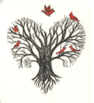 miniture etching of a tree and roots shaped as a heart