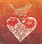 Artist Image of a bird on top of a heart with flowers